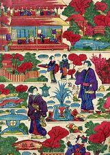 Japanese woodblock print Original Ukiyoe Toy Picture Garden