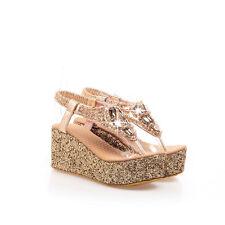 YE Ladies Glitter Diamante Wedge Flip Fliops Womens Slingback Heels Thong Sandal