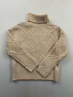 Caslon Women's Beige Chunky Cable Knit Turtleneck Sweater XS NWT
