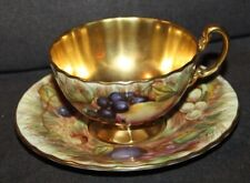 Vintage AYNSLEY Footed Teacup & Saucer ORCHARD GOLD FRUIT