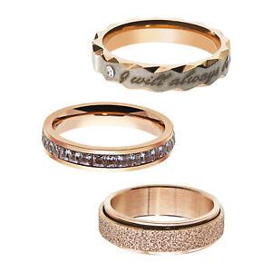 3x Women's Ring Spinner Chain Design Stainless Steel Wedding Band Fidget Rings