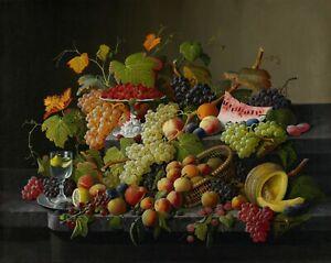 """Severin Roesen : """"Abundant Fruit"""" (1858) — Giclee Fine Art Print"""
