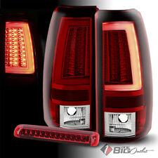 For 03-06 Silverado/Sierra Red Clear Optic-Tube LED Tail Lights + LED 3rd Brake