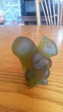 Green Satin Glass Squirrel Paperweight