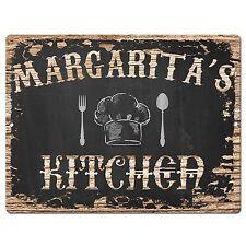 Pp2137 Margarita'S Kitchen Plate Chic Sign Home Kitchen Decor Birthday Gift