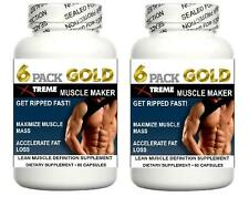 2x Lean Muscle Pills Pro Growth Builder Abs Bodybuilding Tablet X Ripped Mass 60