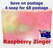 HANDMADE NATURAL TRANSPARENT SOAP * Raspberry Zinger 100 Grams 4 for $8 Postage