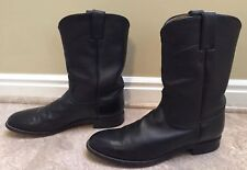 Men's Justin Western Classic Roper Boots Black Round Toe Style 3133. Size 8.5D