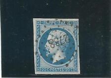 FRANCE n° 14B Napoléon 20c bleu oblitéré cote 6 €