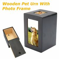 Pet Dog Cat Cremation Wooden Urn Peaceful Memorial Photo Frame Keep Box Case