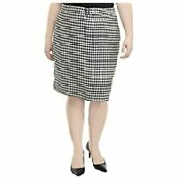 $89 Calvin Klein Womens Belted Houndstooth Knee Length Pencil Skirt Size 2