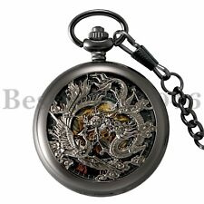 Steampunk Vintage Skeleton Mechanical Windup Pocket Watch Chain Mens Womens