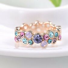 Gold Plated Flower Crystal Cocktail Rings Women Lady Girls Wedding Band Jewelry