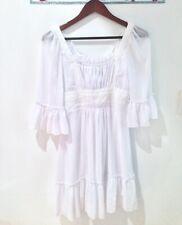 Women's Romantic Lace Chiffon Buttons Doll dress-White -Size XS/S/M