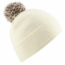 Bobble Hat Beanie Wooly Winter Womens Mens Ladies Knitted Ski Warm Hat Two Tone