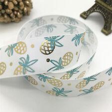 "5Yards 1""25mm Printed Bronzing pineapple Grosgrain Ribbon Hair Bow Sewing#128"