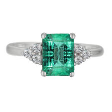 Natural Colombian Emerald & Diamond Emerald cut 14k White Gold Engagement Ring