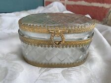 ANTIQUE FRENCH GOLD GILT ORMOLU CRYSTAL JEWELRY CASKET BOX