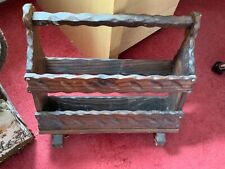 VINTAGE WOODEN MAGAZINE RACK PAPERS LETTERS ETC
