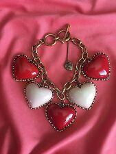 Betsey Johnson Vintage HUGE Red & Pink Lucite Puffy Heart Rose Gold Bracelet
