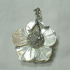 """Mother of Pearl MOP Shell White 1.25"""" Carved Flower Silver Plated Pendant Bead"""
