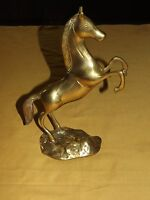 "VINTAGE 10"" HIGH BRASS HORSE RAISED REARED FRONT  LEGS"
