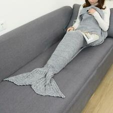 Kids Grey Fish Scales Mermaid Tail Blanket Handmade Knitted Crocheted Quilt