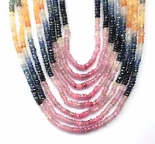 8 strand natural Faceted Multi sapphire Stone Beads Necklace
