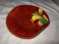 Vintage Retro Japanese Basket Weave Pottery Applied Fruit Decorated Display Bowl