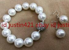 Round Beads Bracelet Earrings Set 7.5''Aaa Huge 12mm White South Sea Shell Pearl