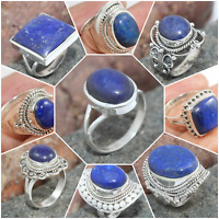 LAPIS LAZULI 925 SOLID STERLING SILVER HANDMADE JEWELRY RINGS FOR VALENTINE GIFT