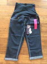 New NWT L Bella Vida Maternity Jeans Capri Cropped Dark Wash Stretchy Full Panel