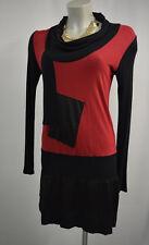 Maloka Kleid Stretch Kleid 2=M Langarm schwarz rot TOP