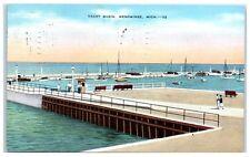 1941 Yacht Basin, Green Bay, Lake Michigan, Menominee, MI, Postcard
