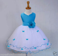 WHITE PAGEANT BUTTERFLY WEDDING FLOWER GIRL DRESS 6M-18M 2-3T 4 5 5T 6 7 8 9 10
