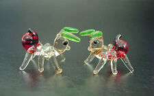 2 Tiny Glass ANTS Insects Very Small Red Green Tinted Glass Animal Ornaments