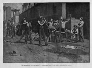 IRON-WORKERS NOON TIME, ANTIQUE PRINT, 1884 IRON WORKER