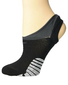 Nike 239385 Womens Open Heel Low Cut Socks Black/Anthracite Size 5.5-7
