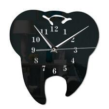 Mirror Effect Tooth Dentistry Wall Clock Laser Cut  Dental Clinic Office Decor