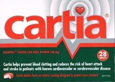 ==> CARTIA 100MG  ASPIRIN 28  ENTERIC COATED  TABLETS
