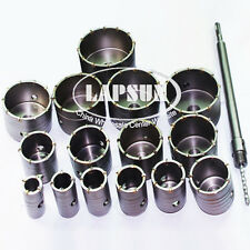 15pc/Set 30mm-100mm Wall Impact Drill Bit Hole Saw +1pc SDS+ Core Shaft Arbor US