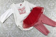 NWT Carter's Baby Girl 3 M Tutu Merry & Bright Outfit Set Christmas Bodysuit