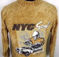 Raw Blue Mens Sweater NYC Soul DJ Urban Graphic High Collar Gold Size Large