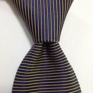 ROBERT TALBOTT Men's 100% Silk Necktie USA Designer STRIPED Blue/Yellow NWD