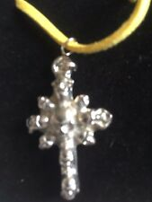 """Skull Cross TG277 Fine English Pewter On 18"""" Yellow Cord Necklace"""