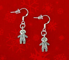 BUY 3 GET 1 FREE~SILVER GINGERBREAD MAN DANGLE EARRINGS~CHRISTMAS GIFT FOR HER