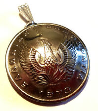 Phoenix Bird Pendant 1973 Made In Greece Greek Birth Year Coin Jewelry Necklace