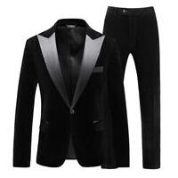 Black Velvet Men Suit Peak Lapel Formal Tuxedo Wedding Groom Party Prom Suit