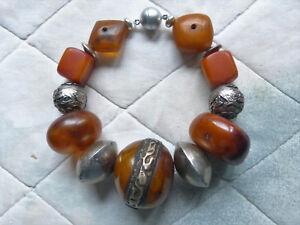 "Beadart-Austria Bracelet with Tibetan resin amber and antique African ""amber"""