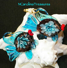 ART GLASS CEILING FAN SWITCH PULL BLUE FLORAL GOLDFISH FANTAIL FISH LARGE PAIR